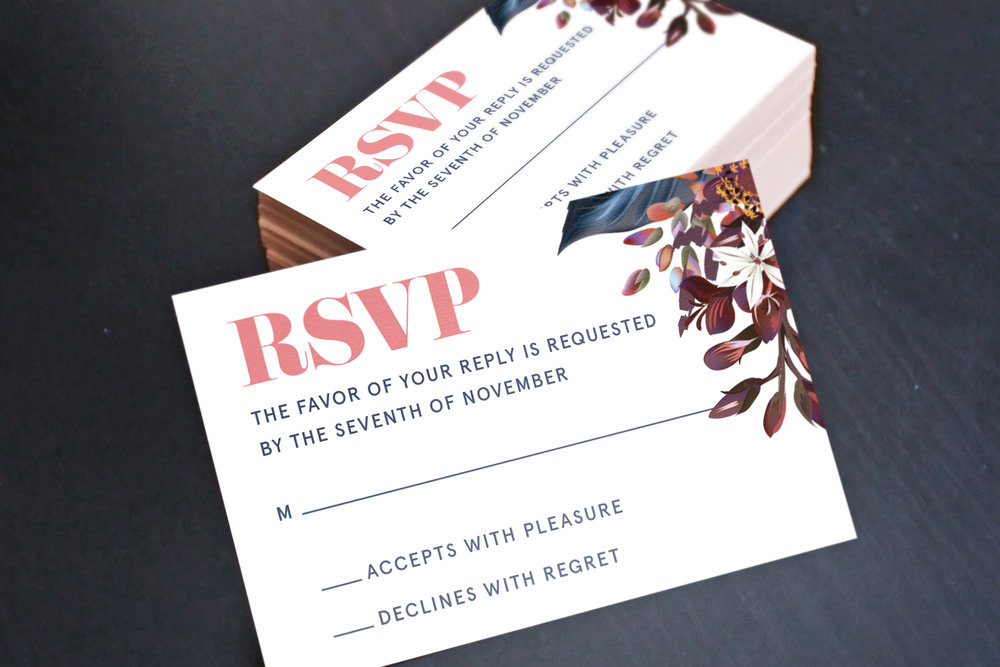 Custom Modern Wedding RSVP Reply Cards in Stack
