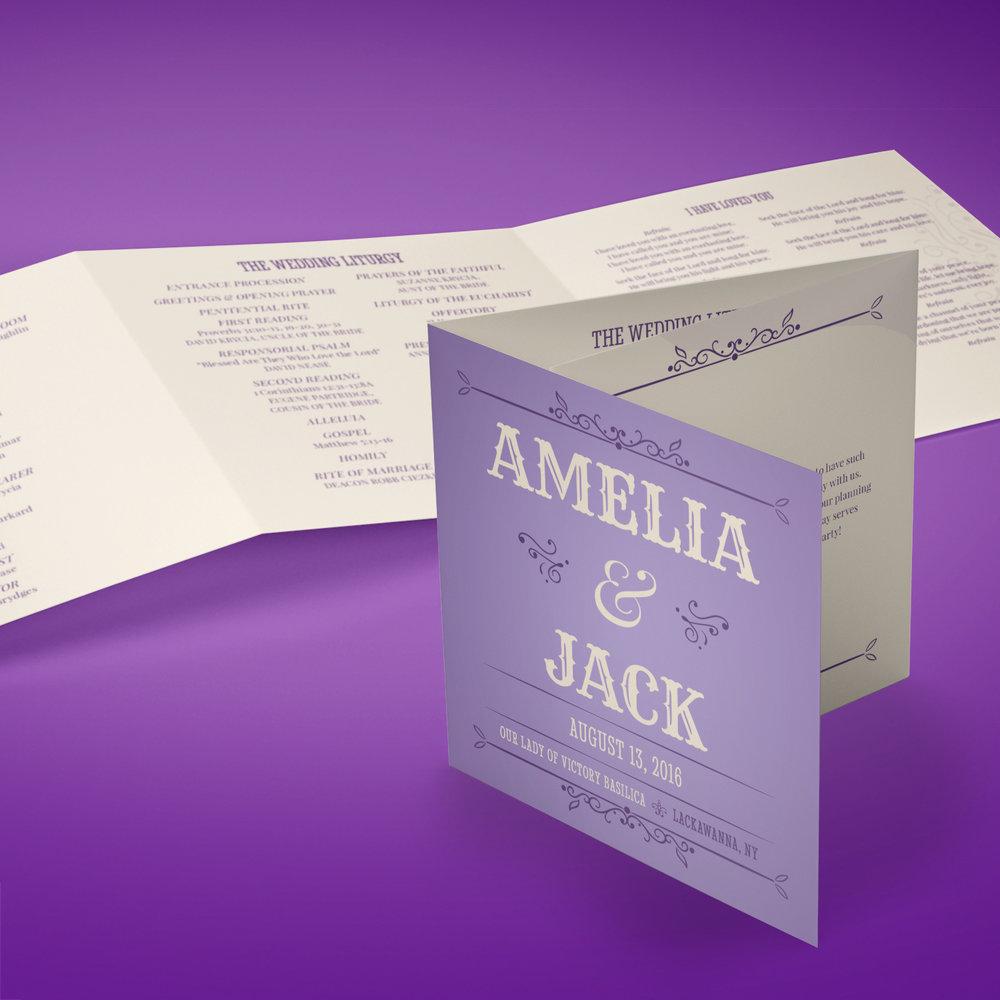 Custom Vintage Purple Tri-Fold Wedding Program