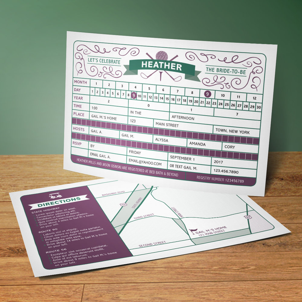 Custom Green and Purple Golf Score Card Bridal Shower Postcard Invitation with Map Design