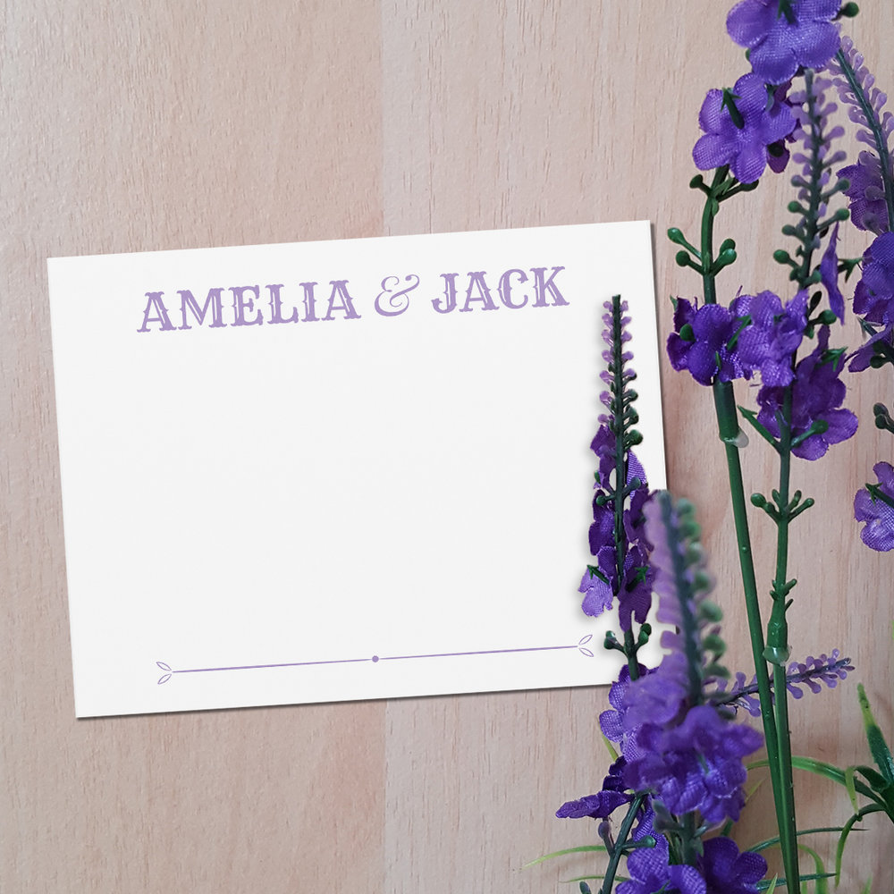 Custom Purple Vintage Personalized Wedding Thank You Note with Flowers