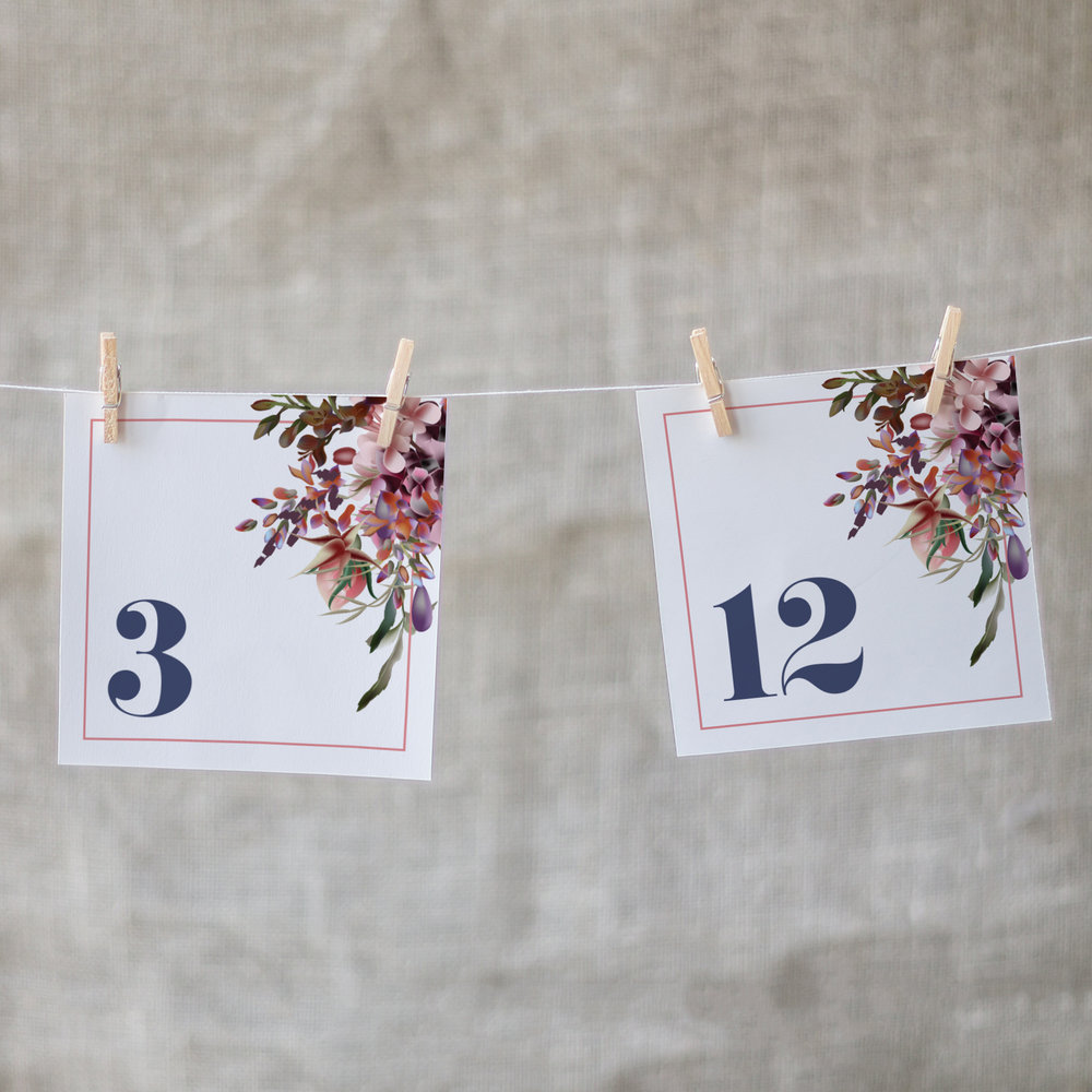 Custom Modern Navy Blue Floral Square Wedding Table Numbers Hanging with Clothes Pins