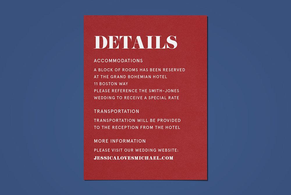 Custom Modern Red Wedding Invitation Details Card on Blue Background