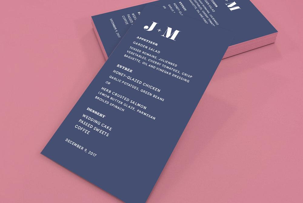 Custom Modern Navy Blue Modern Wedding Menu Design on Pink Background
