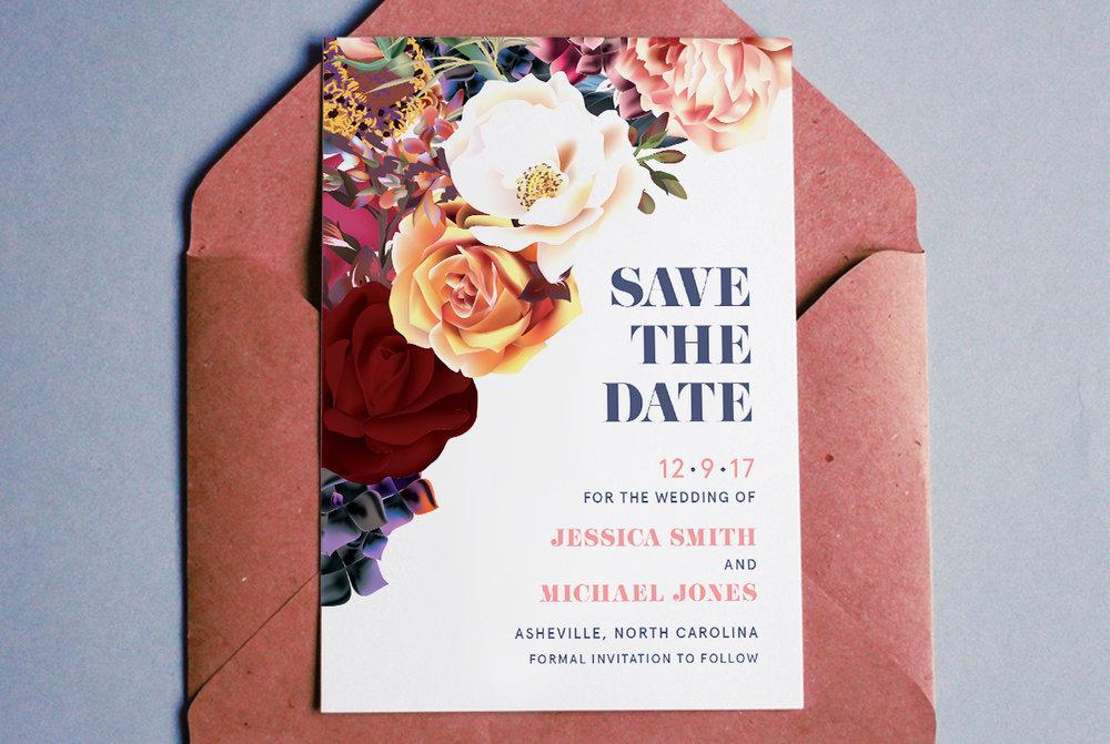 Custom Modern Floral Roses Save the Date Design on Pink Envelope