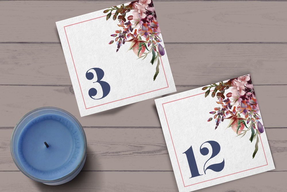 Custom Square Modern Floral Navy Blue Wedding Table Numbers with Candle
