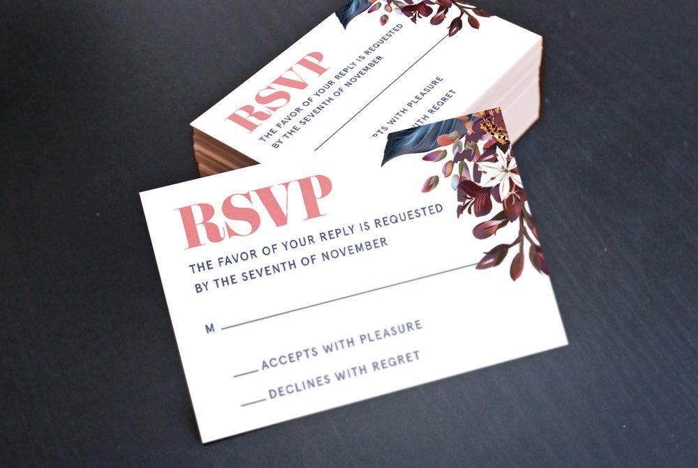 Custom Modern Floral Pink RSVP Reply Card Design Stack