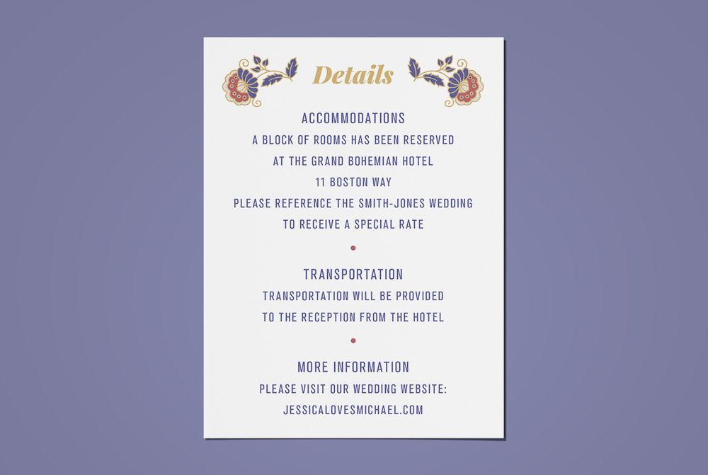 Custom Floral Filigree Wedding Invitation Details Card Design on Blue Background