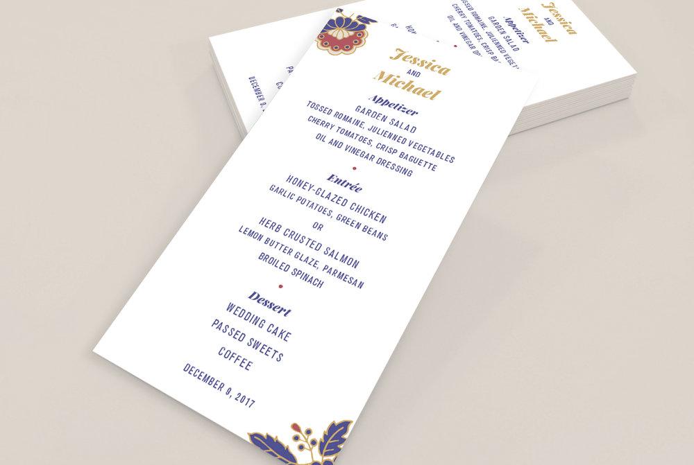 Custom White Floral Filigree Wedding Menu Design
