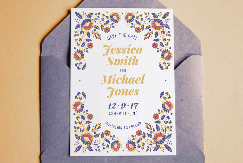 Custom Blue, Red, and Yellow Filigree Save the Date Design on Blue Envelope