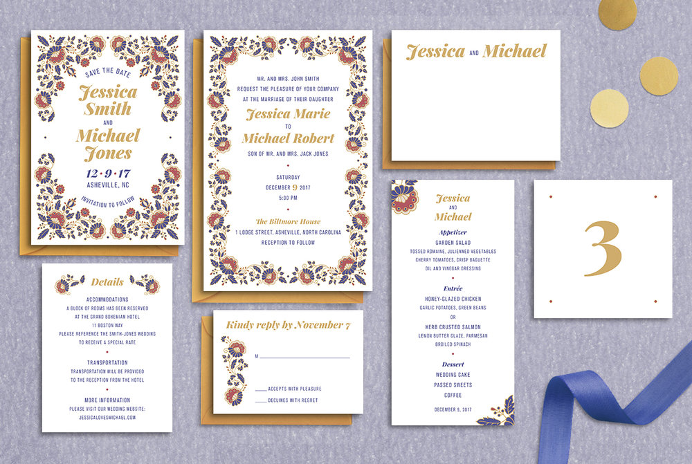 Custom Blue, Red, and Yellow Filigree Wedding Invitation Suite Design with Save the Date, Menu, Table Numbers, Thank You Note, RSVP Reply Card, and Details Card