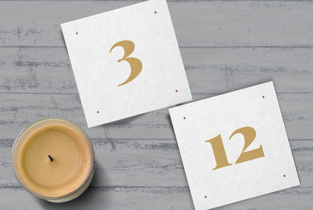 Custom Modern Gold Wedding Table Numbers with Candle
