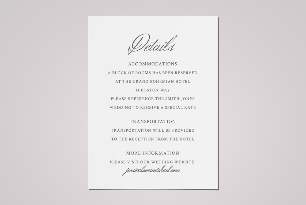 custom minimal classic charcoal wedding invitation details card design on pink background - Wedding Invitation Details Card