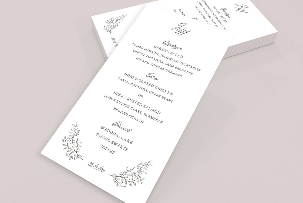 Custom White Minimal Classic Charcoal Wedding Menu Design on Pink Background