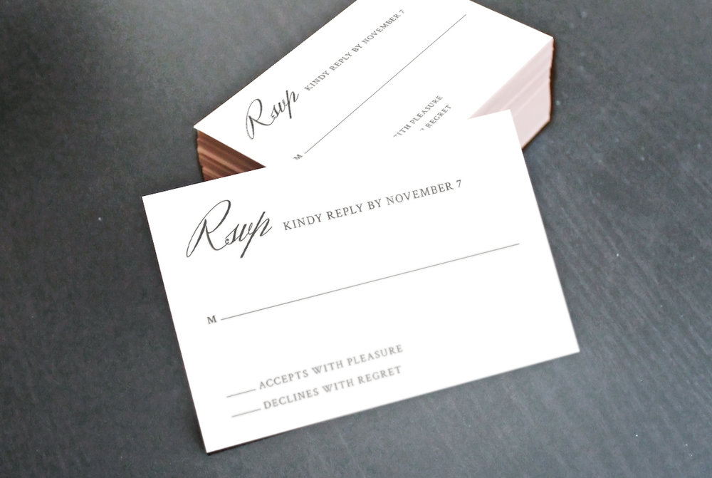 Custom Minimal Classic RSVP Reply Card with Script Stack