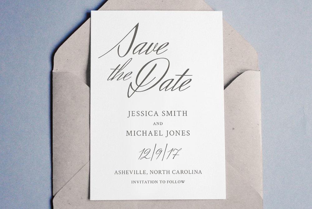 Custom Minimal Classic Charcoal Wedding Save the Date with Script++