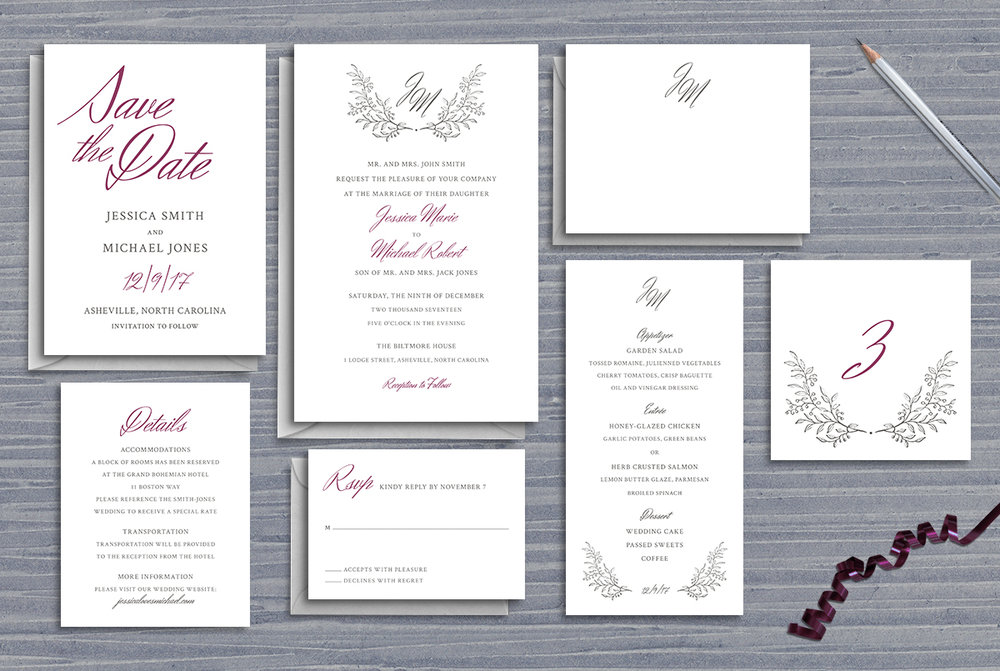 Custom Simple Minimal Classic Wedding Invitation Suite Design with Save the Date, Menu, Table Numbers, Thank You Note, RSVP Reply Card, and Details Card