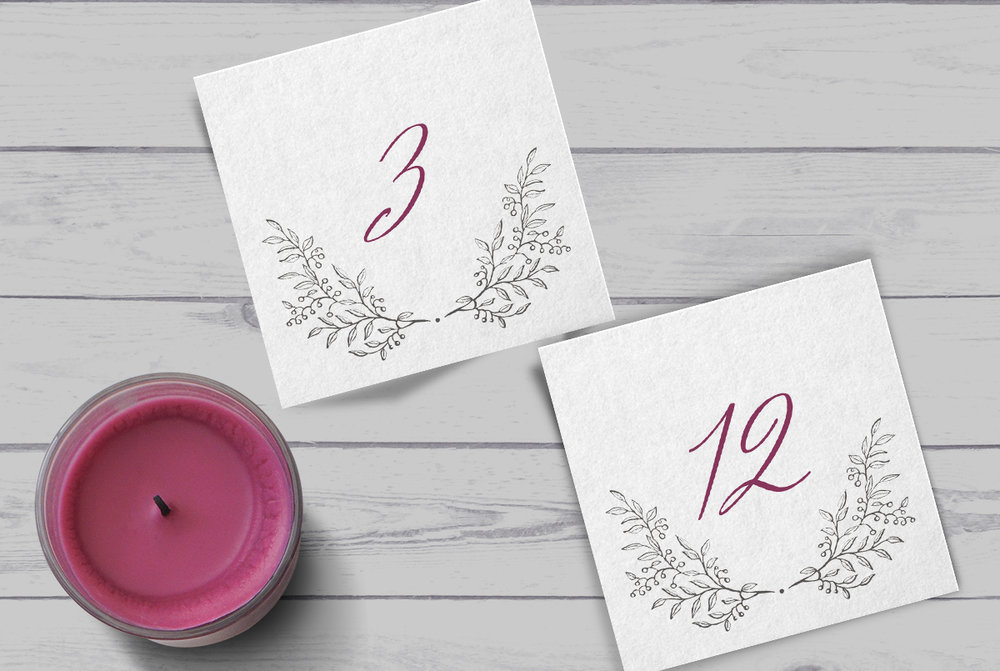 Custom Classic Charcoal and Burgundy Floral Square Wedding Table Numbers with Candle