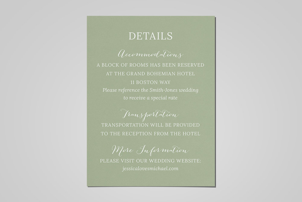 custom classic green wedding invitation details card design - Wedding Invitation Details Card