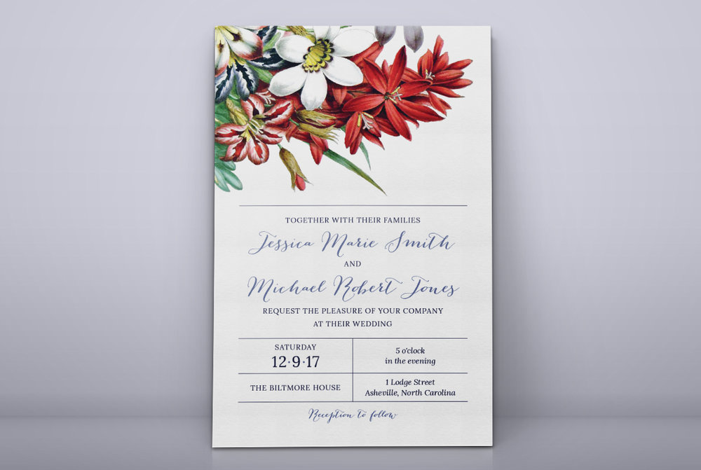 Custom Red Blue and White Spring Floral Wedding Invitation Design Standing Against Wall