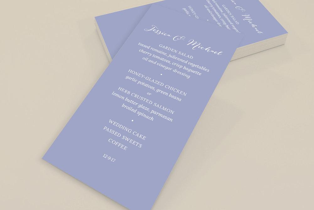 Custom Modern Classic Blue Wedding Menu Design on Yellow Background