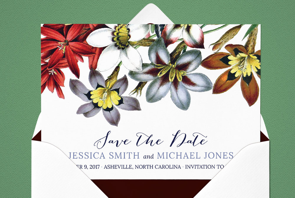 Custom Red, Blue, and White Spring Floral Save the Date Design with Green Background