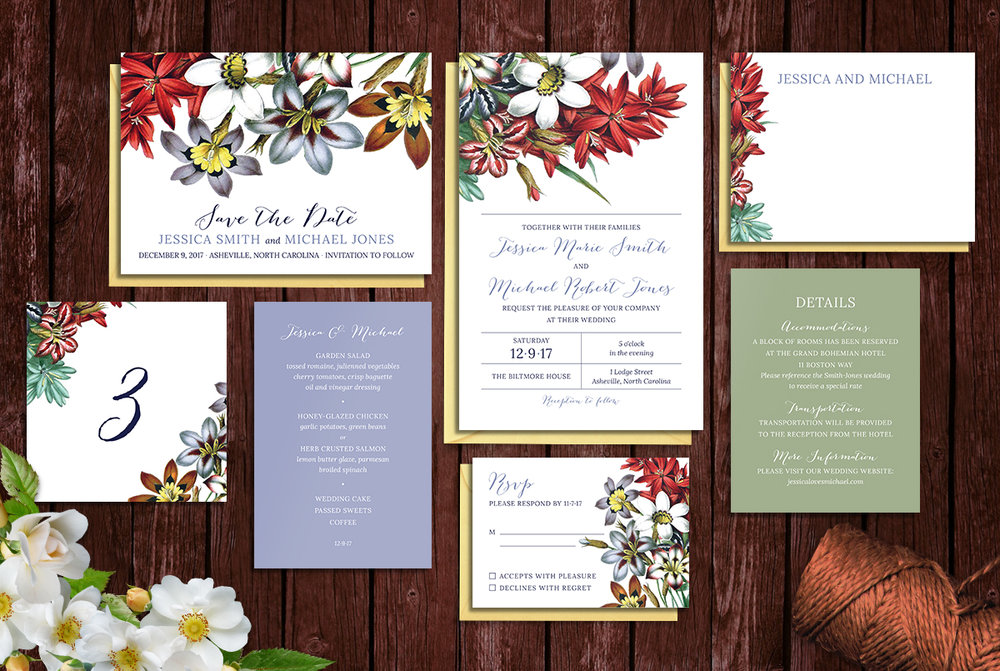 Custom Spring Floral Wedding Invitation Suite Design with Save the Date, Menu, Table Numbers, Thank You Note, RSVP Reply Card, and Details Card