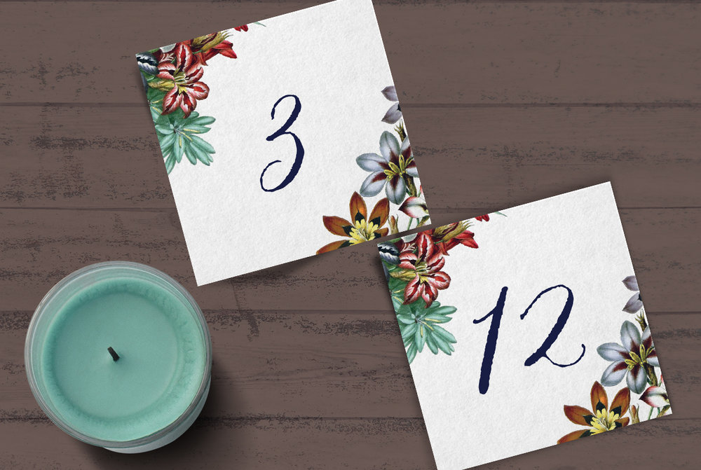 Custom Blue, Red, and White Spring Floral Square Wedding Table Numbers with Script Font with Candle