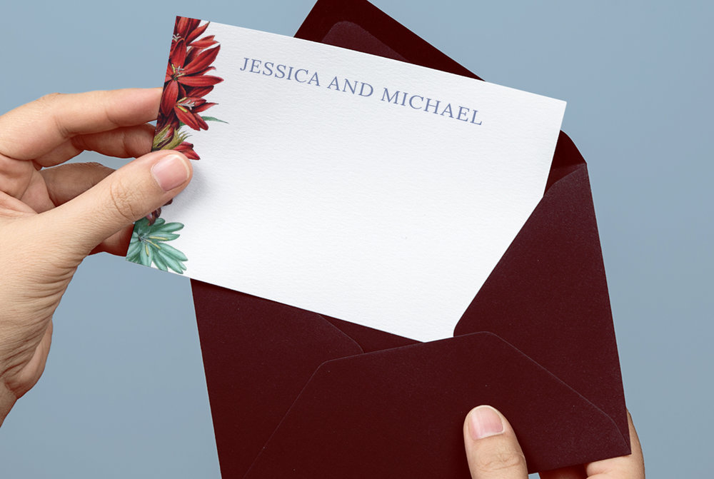 Hands Holding Custom Red, Blue, and White Spring Floral Personalized Wedding Thank You Note with Red Envelope