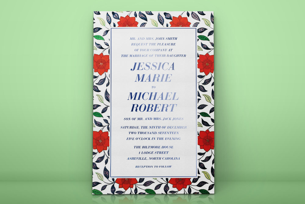 Custom Modern Red and Navy Blue Foil Stamped Invitation Design Floral Border Standing Against Green Wall