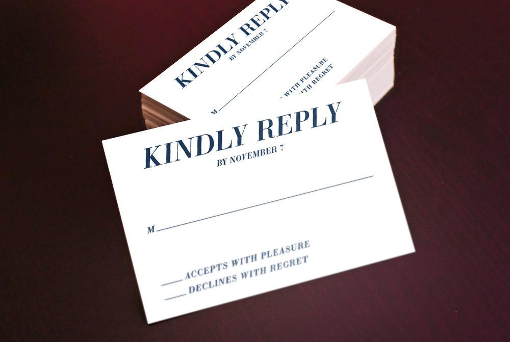 Custom Modern Navy Blue Wedding RSVP Reply Card Stack