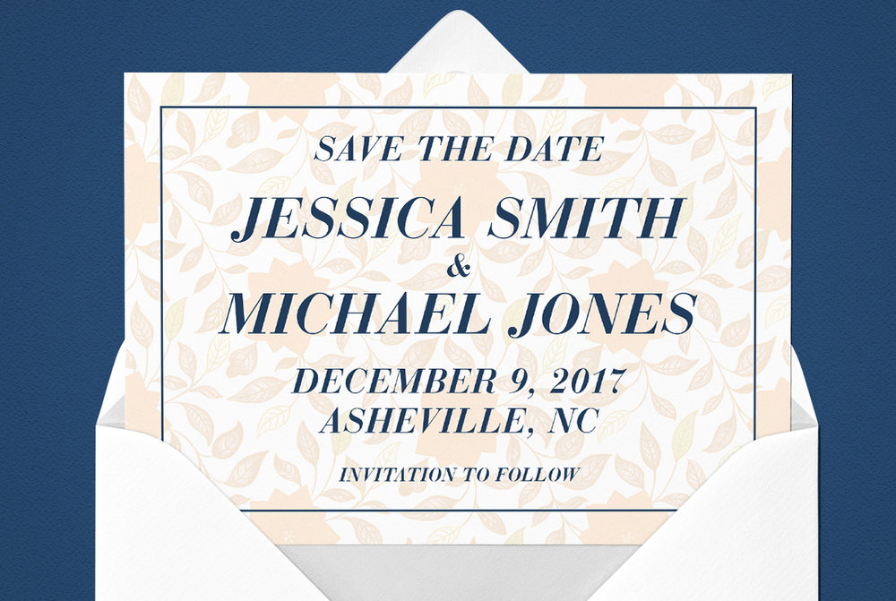 Custom Modern Red, Navy Blue, and White Wedding Save the Date Design in Envelope