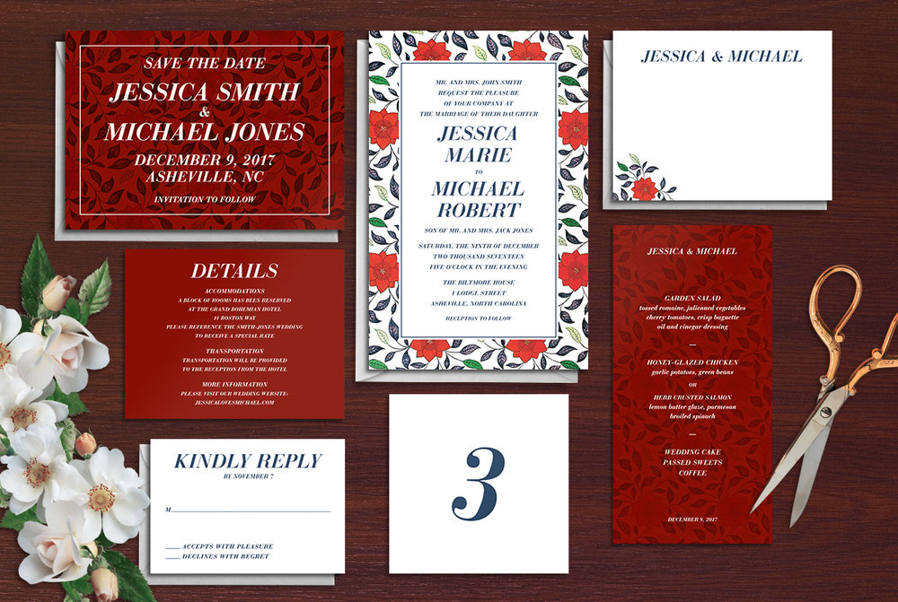 Custom Modern Red Floral Wedding Invitation Suite Design with Save the Date, Menu, Table Numbers, Thank You Note, RSVP Reply Card, and Details Card