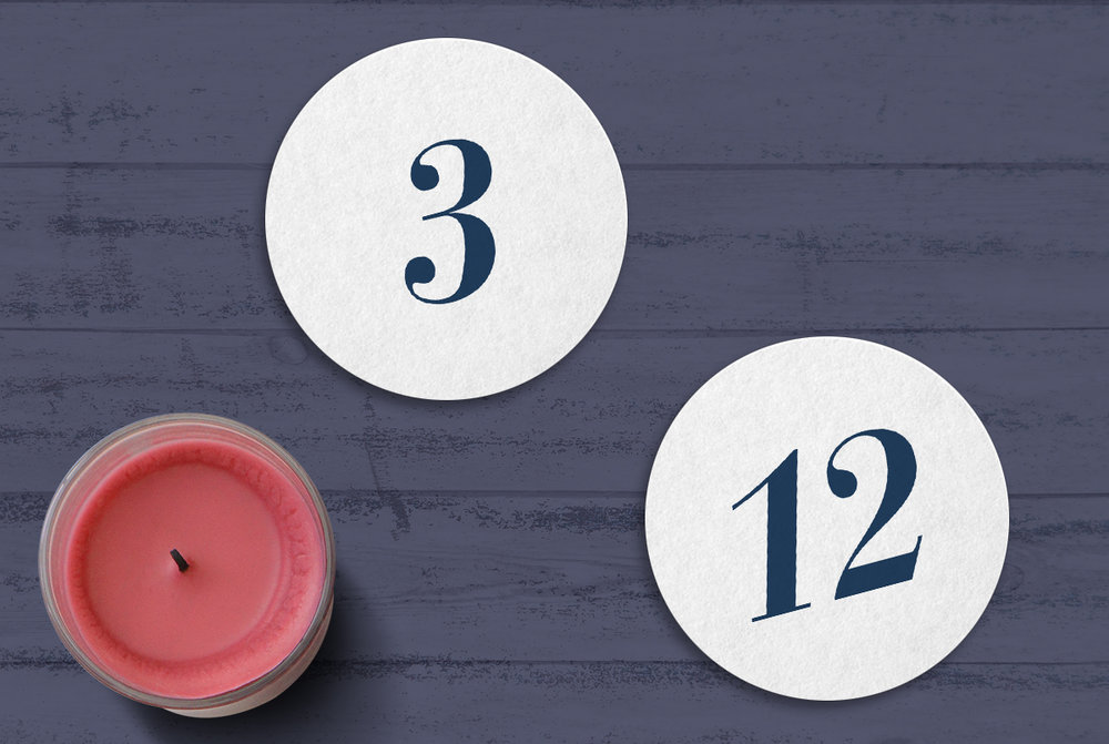 Custom Modern Navy Blue Die Cut Circle Wedding Table Numbers with Candle