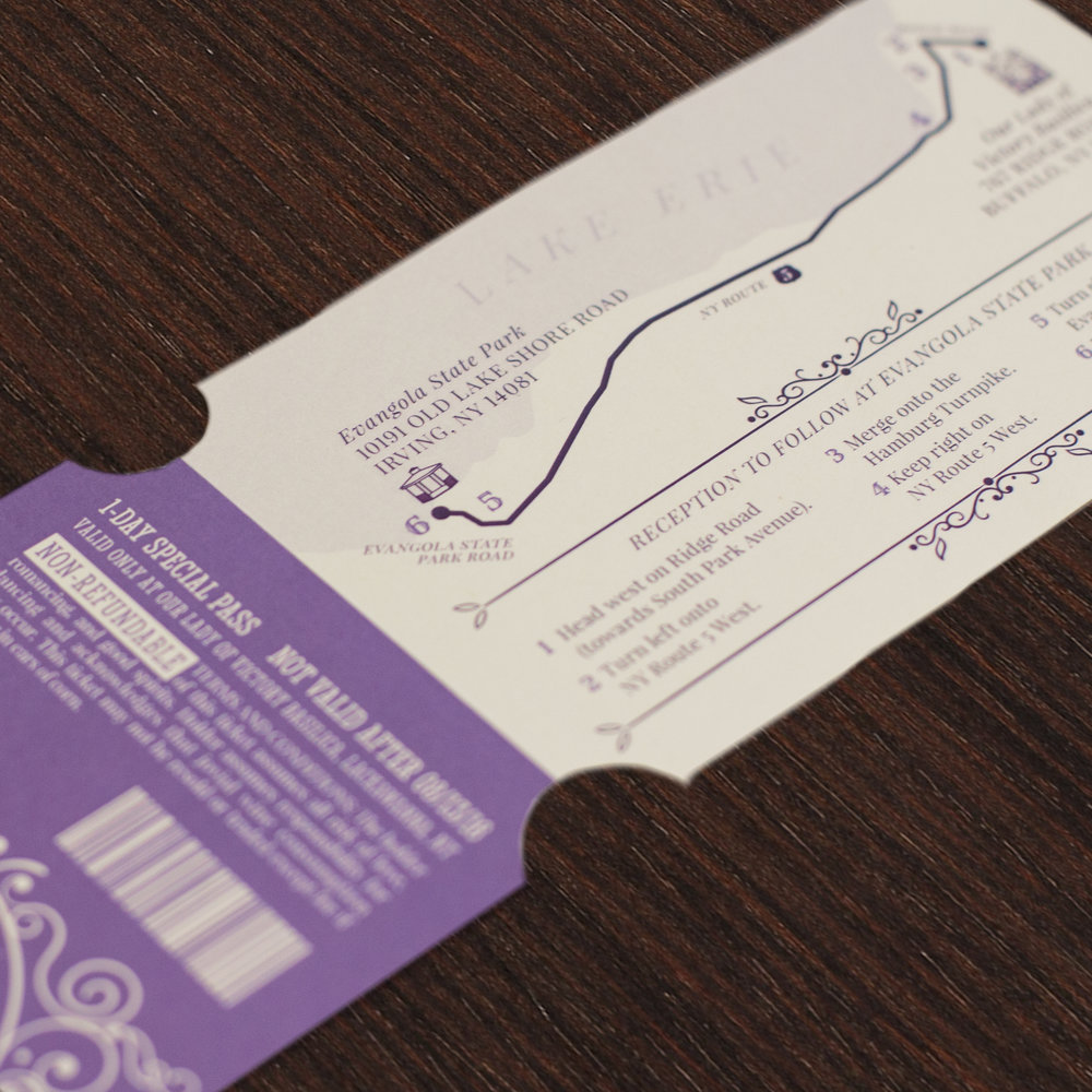 Custom Purple Vintage Carnival Ticket Invitation with Map Design