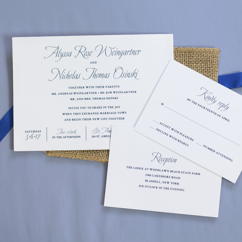 Custom Blue Nautical Wedding Invitation Suite with Burlap Wrap and Blue Ribbon