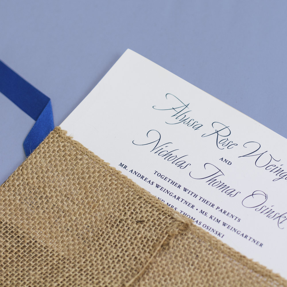 Custom Classic Nautical Wedding Invitation with Burlap Wrap and Blue Ribbon
