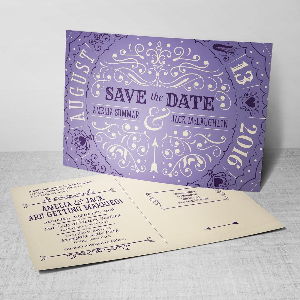 Custom Vintage Carnival Spinner Wedding Save the Date Postcard