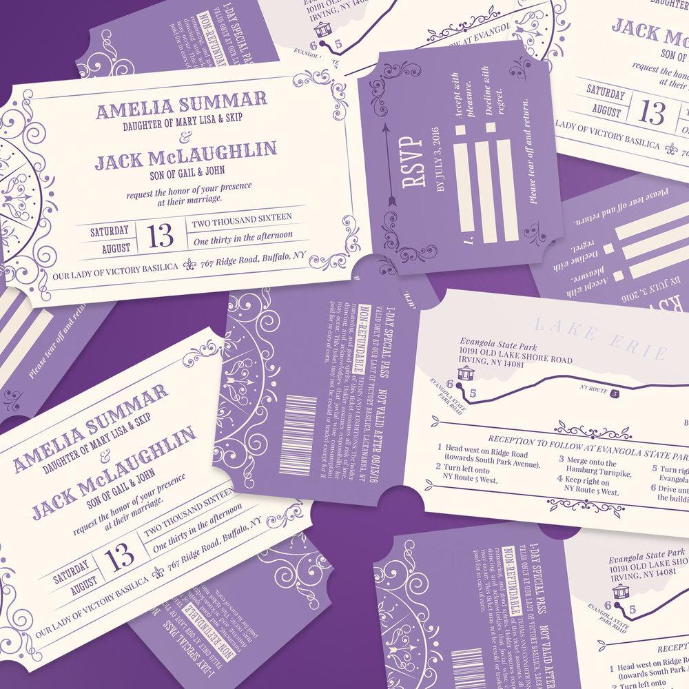 Custom Vintage Carnival Ticket Invitations Scattered
