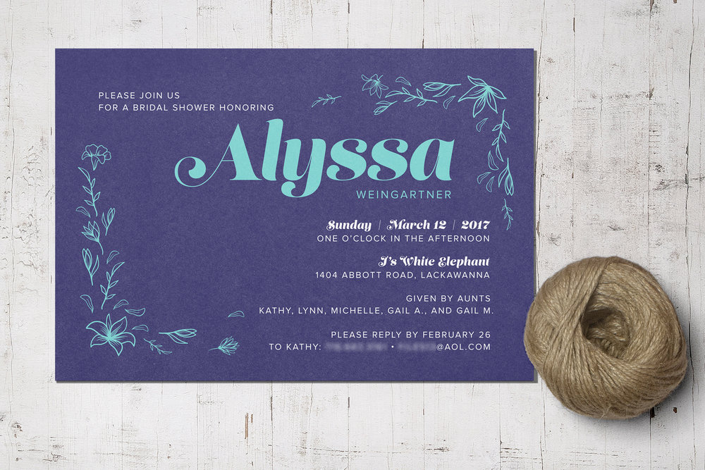Custom Navy Blue Bridal Shower Invitation with Lilies and Turquoise Text and Twine