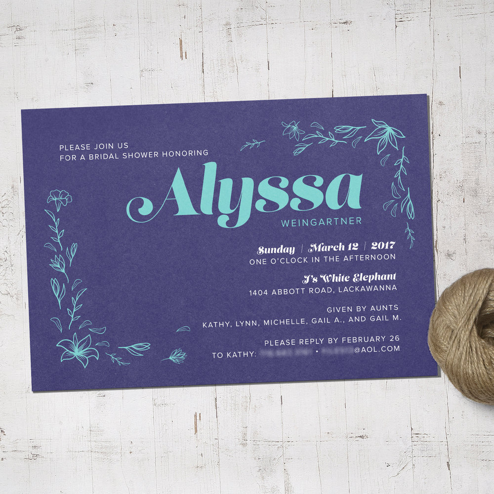 Custom Navy Blue Bridal Shower Invitation with Turquoise Lilies and Twine