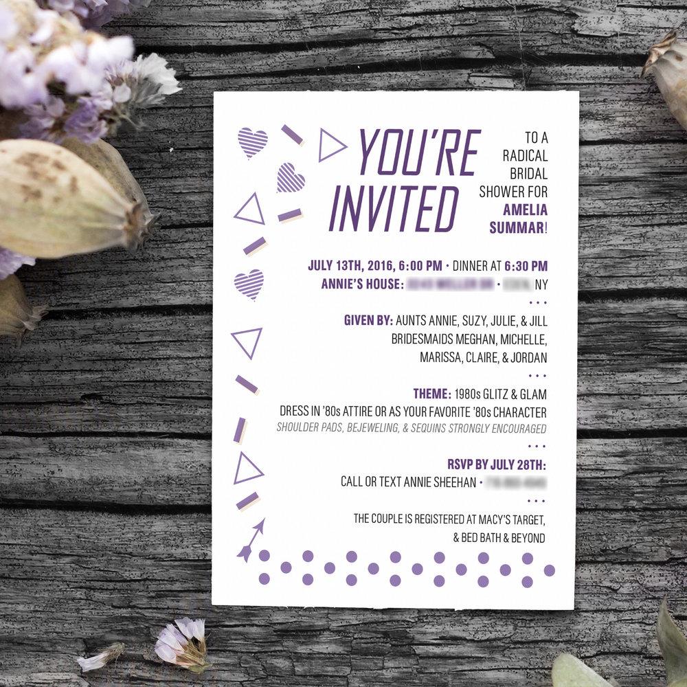 Custom Purple Hearts Retro Bridal Shower Invitation Design