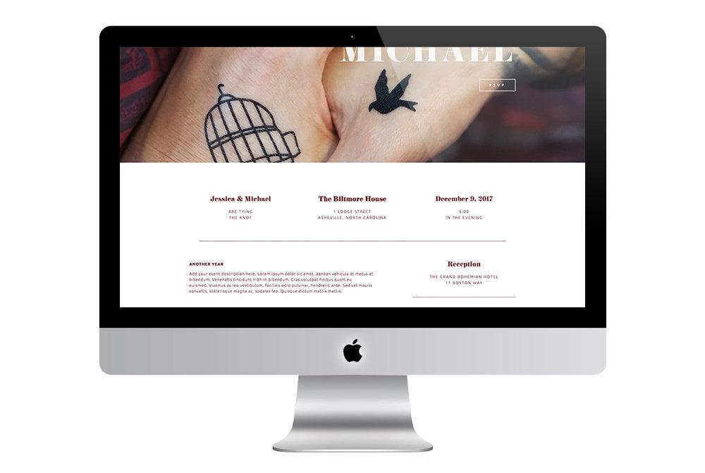 Custom Modern Scrolling Black and Red Squarespace Website Design Wedding Details