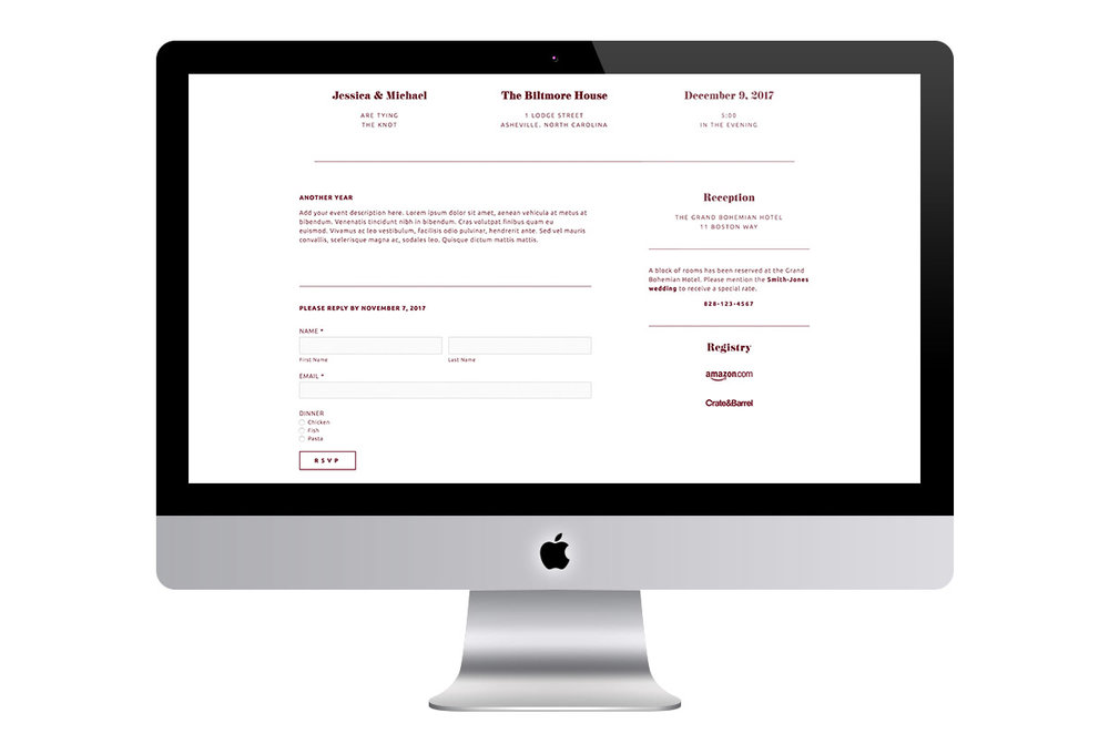 Custom Scrolling Modern Squarespace Wedding Website Design Showing Registry and RSVP Reply Form