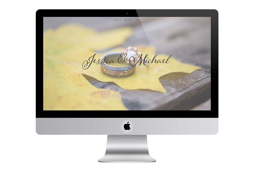 Custom Classic Squarespace Wedding Website Design with Script Font and Full Screen Photo of Rings