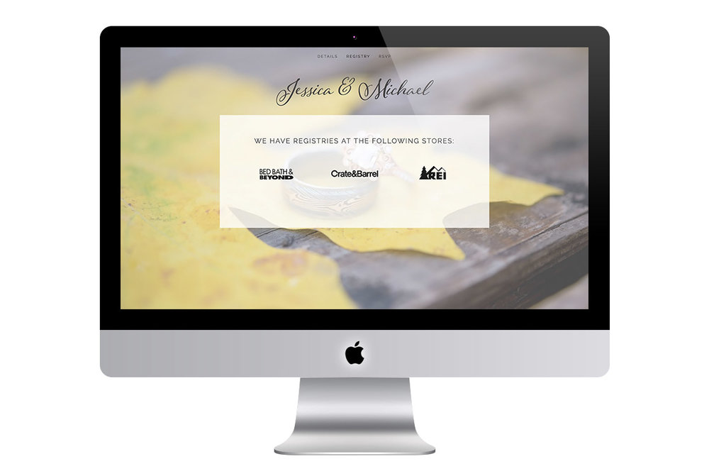 Custom Classic Squarespace Wedding Website Design with Script Font and Full Screen Photo Showing Registry