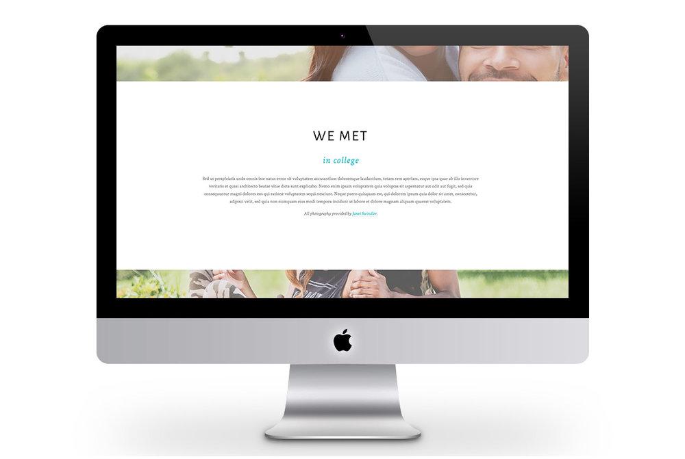 Custom Modern Squarespace Wedding Website Design Showing Couple's Story