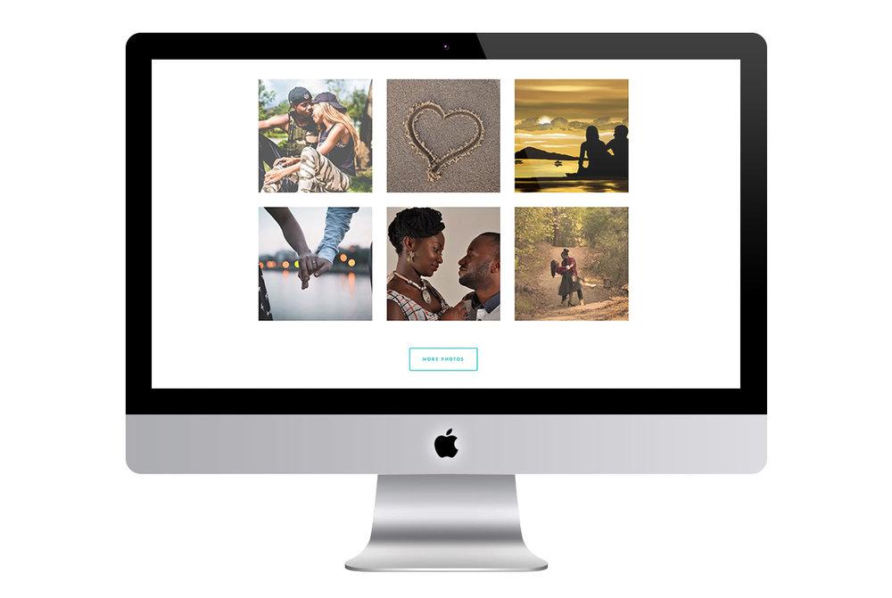 Custom Modern Squarespace Wedding Website Design Showing Engagement Photo Gallery
