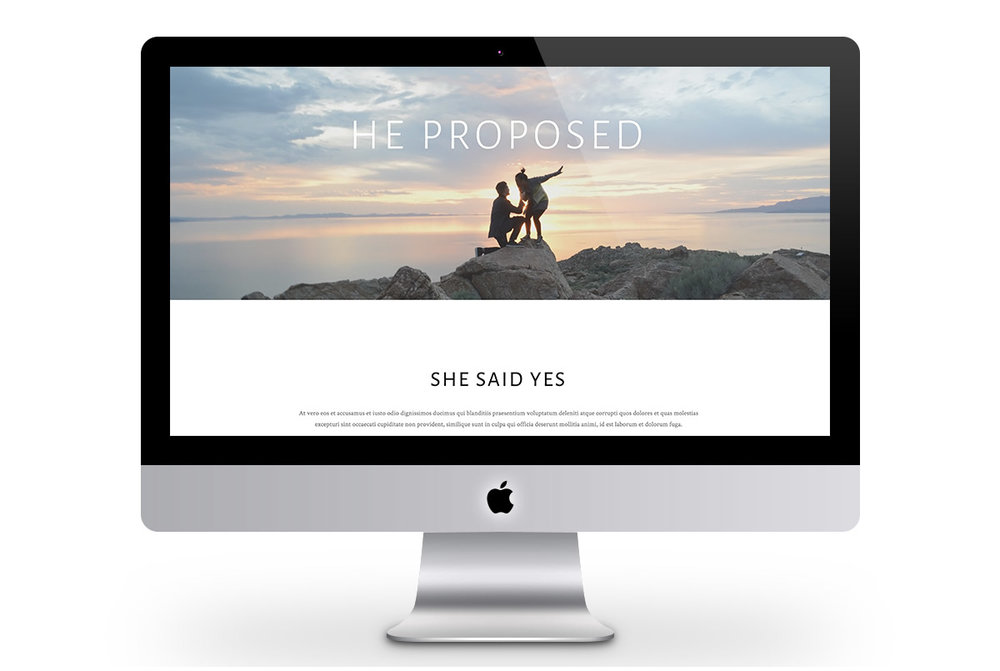 Custom Modern Squarespace Wedding Website Design Showing Proposal Story