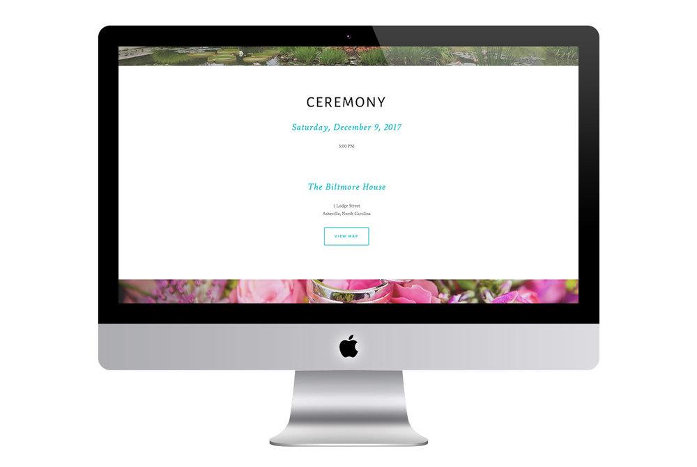 Custom Modern Squarespace Wedding Website Design Showing Ceremony Information