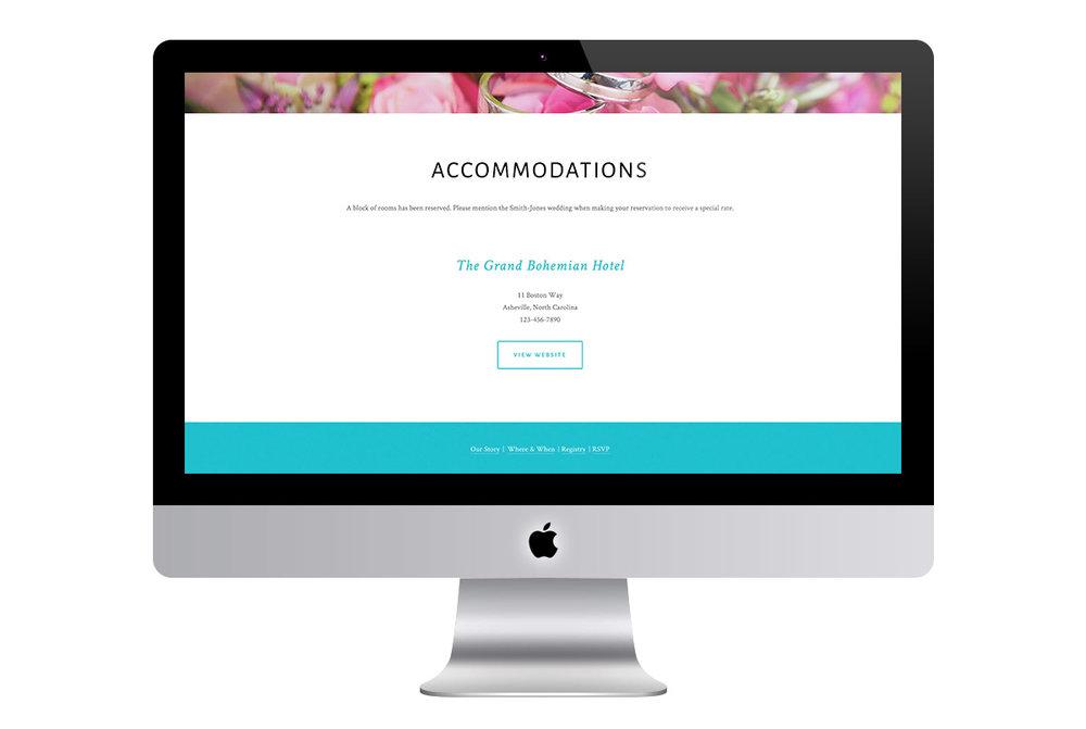 Custom Modern Squarespace Wedding Website Design Showing Accommodations Information